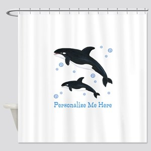 Personalized Killer Whale Shower Curtain